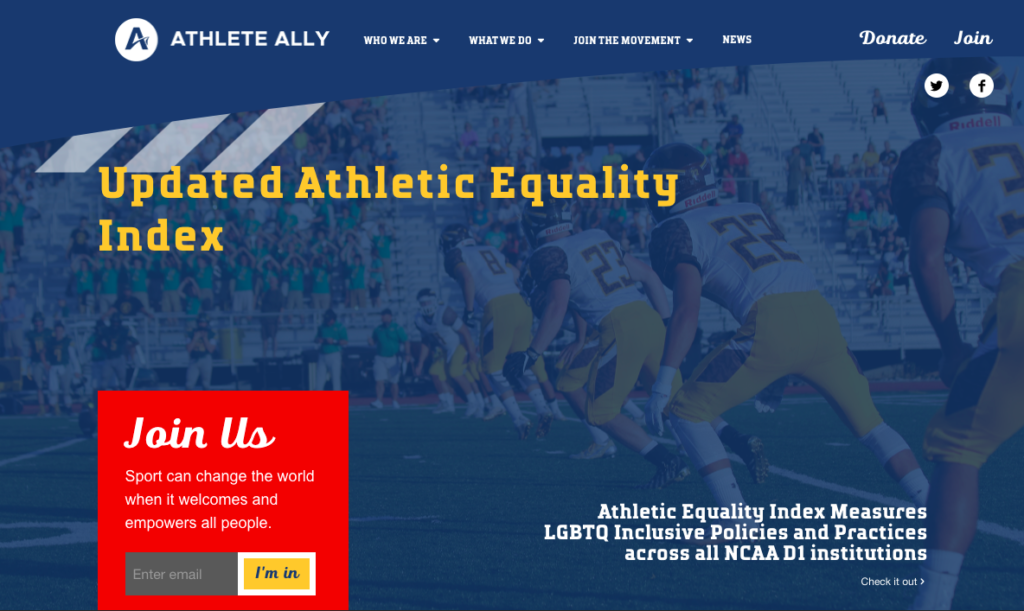 Screen shot of the Athlete Ally web page