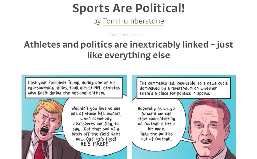 "Screen shot of The Nib cartoon ""Sports Are Political!"""