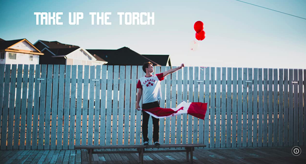 Screen shot of Take up the Torch movie poster: Athlete stands on bench holding balloons and Canadian Flag