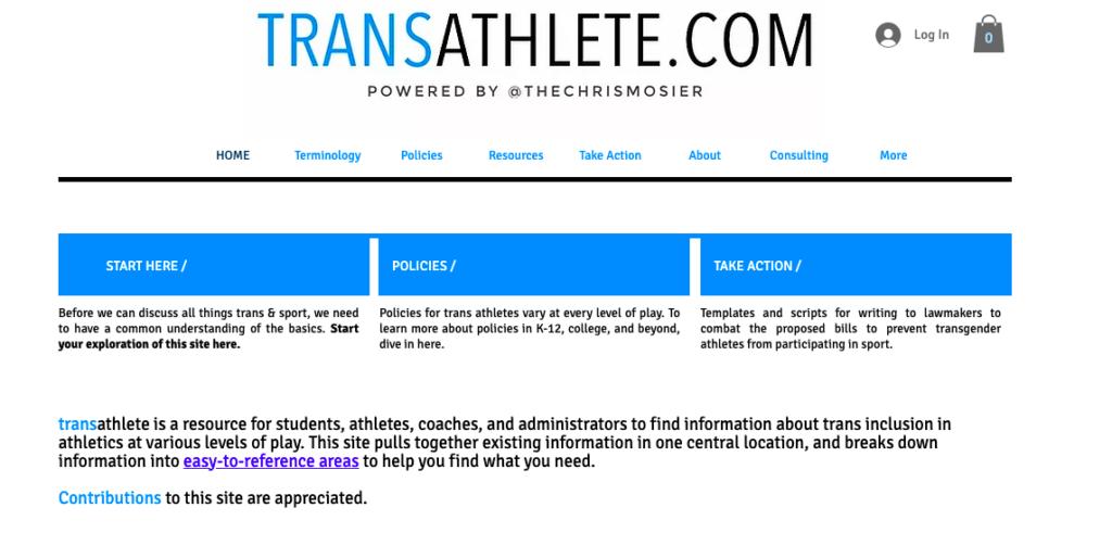Screen Shot of Trans Athlete.com website landing page