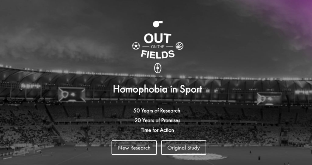 Screen shot of Out on the Fields Landing page